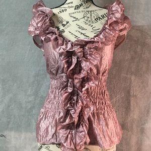 Arden B. Dusty Rose Pink Ruffle Blouse Top Medium